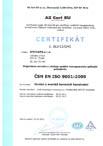 Certifikát pro ČSN EN ISO 9001