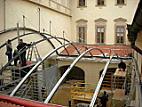 Nosná ocelová konstrukce před zahájením předpínání nerezových lan Macalloy